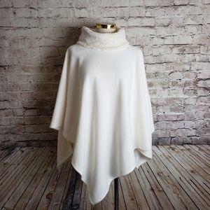 Le Moda Fleece & Faux Fur Poncho